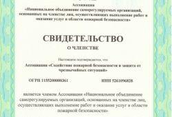 «Национальное объединение саморегулируемых организаций, основанных на членстве лиц, осуществляющих выполнение работ и оказание услуг в области пожарной безопасности»